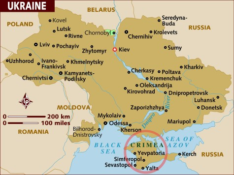 A map of the Ukraine, with the Crimea indicated in red