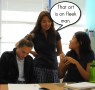 Gaby Ponce (11) utilizes the slang of the day in art class.