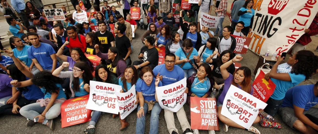 More than 150 students and Dream Act supporters rallied in front of the Federal Office Building in downtown Los Angeles, California, on Friday, June 15, 2012, to voice their support for President Obama's decision to halt the deportation of young illegal immigrants. (Al Seib/Los Angeles Times/MCT)