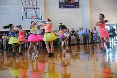 "The ARS Starlettes twirl as they dance to ""Soul Bossa Nova"". They attended camp over the summer to learn this dance."