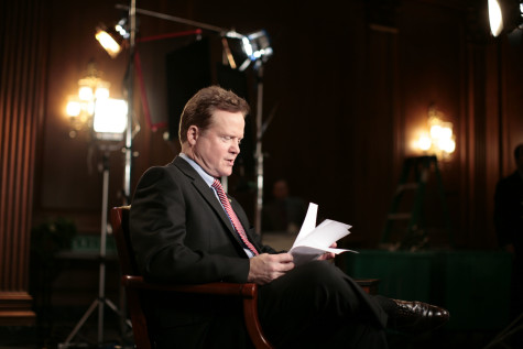 Sen. Jim Webb, D-VA, practices the Democratic response to the President's State of the Union, Tuesday, January 23, 2007, at the Capitol in Washington, D.C. (CHUCK KENNEDY/MCT)