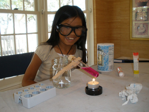 "Maya Messinger does a science experiment while at home in Austin. Messinger was ""homeschooled"" during her Gap Year between Elementary and Middle School."
