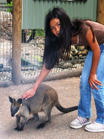 Maya Messinger pets a kangaroo in Australia. Messinger spent a few weeks traveling around New Zealand and Australia during her Gap Year.