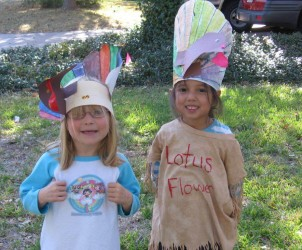 My friend and I dress up as Native Americans for a Thanksgiving assignment in kindergarten.