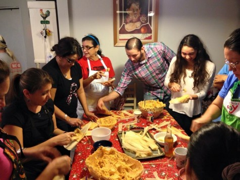 Olivia Crouch (far right) makes tamales with her mom's side of her family. Despite being of mixed heritage, Crouch takes part in many common Mexican-American traditions. Photo courtesy of Olivia Crouch.