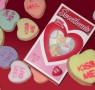 Graphic showing images of Valentines candies shaped like hearts.