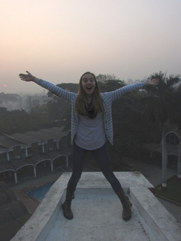 Me at the top of the water tower at the Girl Scout World Center, looking over the city of Pune, India.