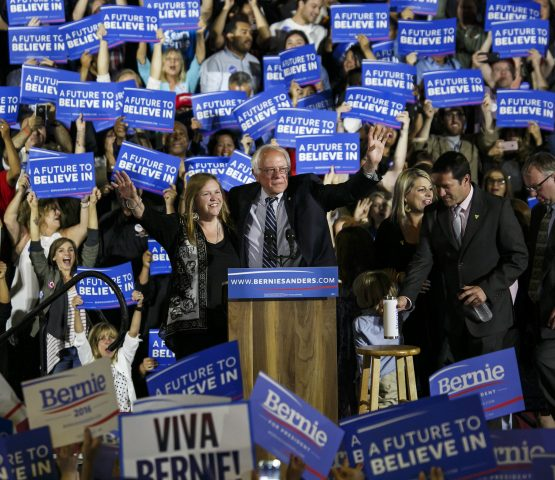 Sen. Bernie Sanders arrives at his campaign rally in Santa Monica, Calif., on Tuesday, June 7, 2016. (Marcus Yam/Los Angeles Times/TNS)
