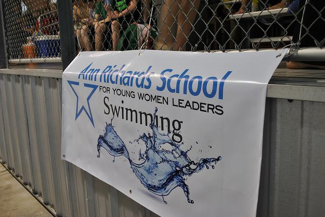 The new swimming banner, a gift from the Searcy family, on display below the ARS Swim Team's seating area