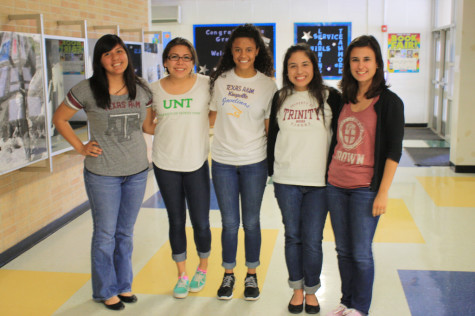 Seniors Elizabeth Palafox, Jadzia Cortez, Amethyst Alston, Sara Calvo, and Casey Garcia sport shirts from the colleges they will be attending next year.