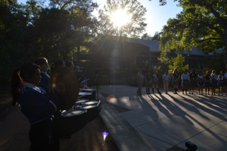 The drum line performs at last year's birthday bash. The 2013 bash was hosted at Lance Armstrong's home.