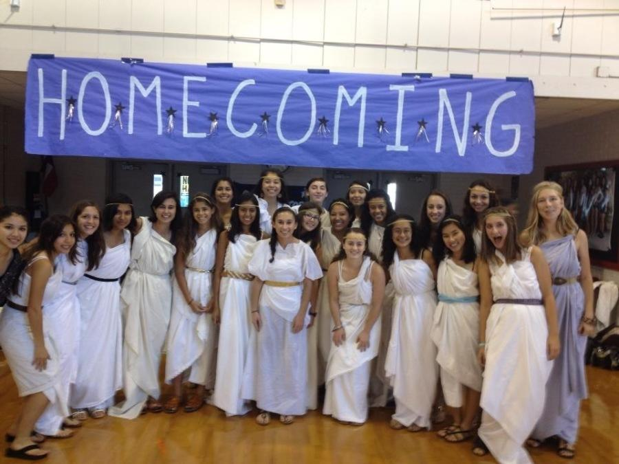 The+cross+country+team+is+dressed+as+Greek+Goddesses+from+last+year%27s+twin+day.+This+is+their+second+year+to+partake+in+team++costumes.