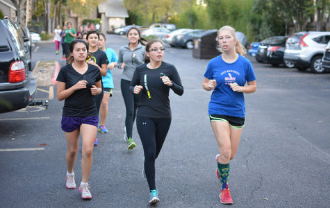 Marathon High members run hills afterschool, from left to right are seniors Ruth Lara, Savannah Ojeda, and Sophie Penniman.