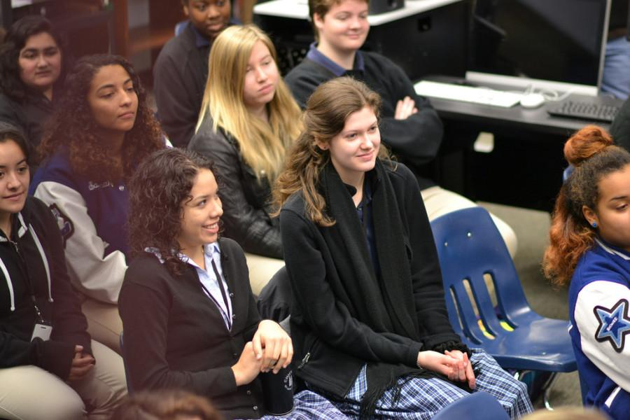 "Libertad Escobar (12) and Karrie Newton (12) listen to their ARS sisters. ""It's not a good idea for your roommate to be your best friend, because then it's hard to confront them when you have a problem,"" said Lyric Prikryl-Martin, Earlham College class of 2018."