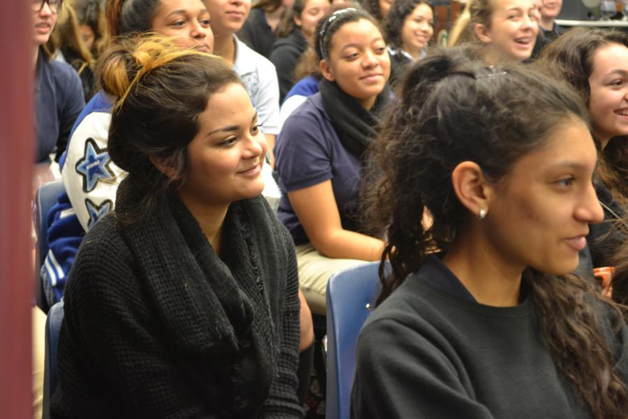 """Dayanne Acosta smiles at Jailyn Bankston's advice. """"Ann Richards definitely prepares you for college. Your time here is not going to waste,""""  said Bankston, University of Houston class of 2017."""