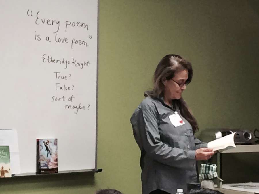 Naomi Shihab Nye reads poetry during the workshops done for 6th grade english classes.