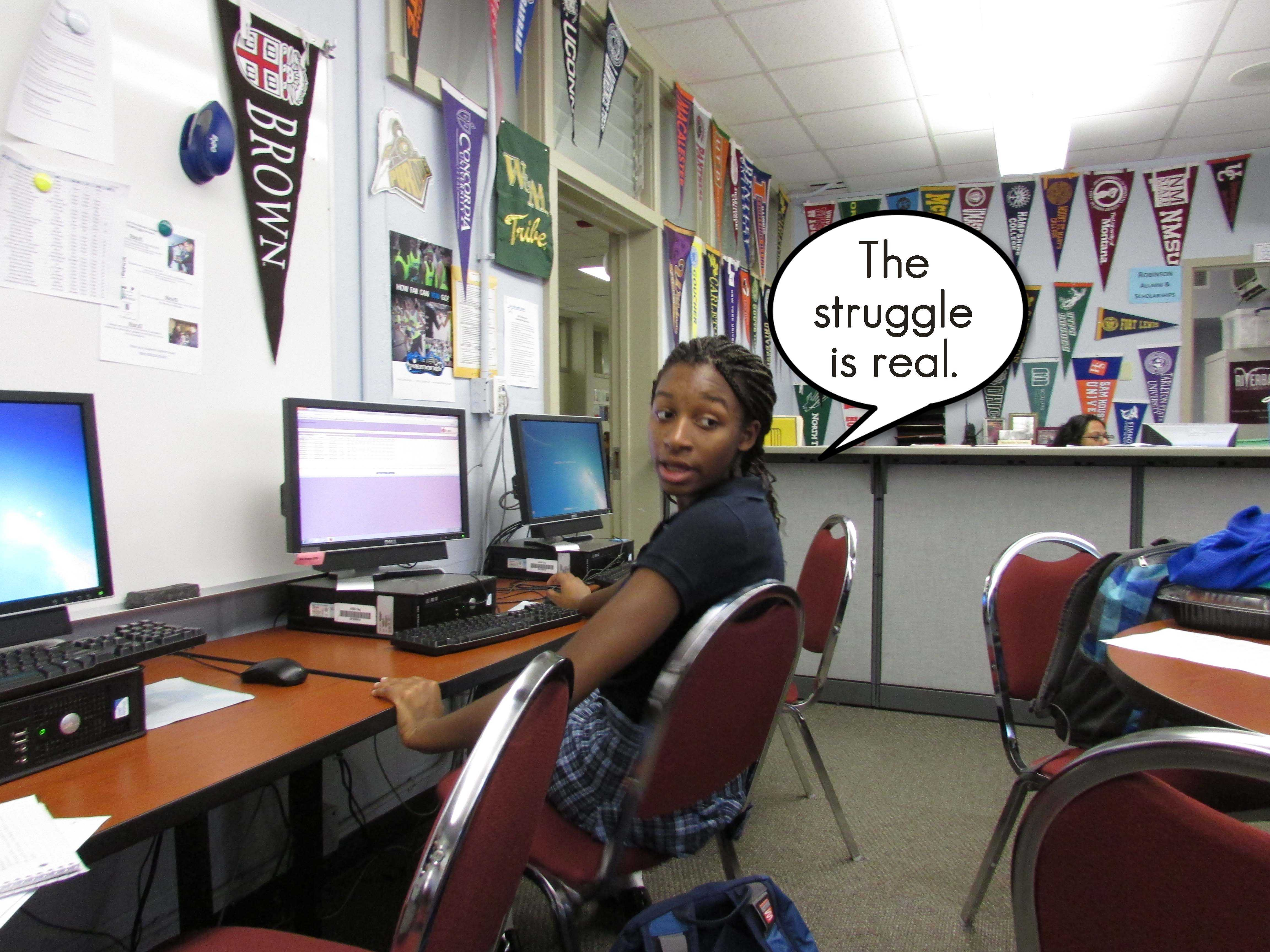 Maya Nunez (11), uses some 2014 slang while struggling in the college center one morning.