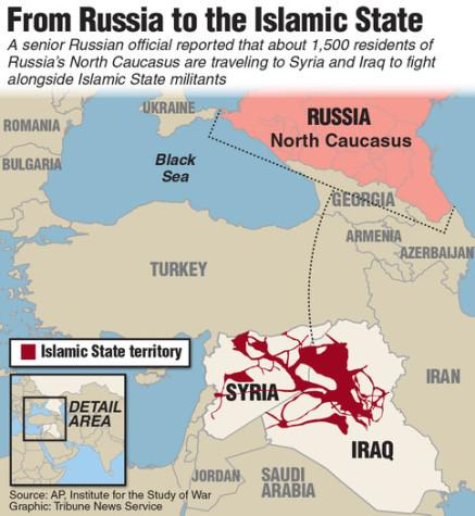 Map showing North Caucasus, Russia where 1,500 residents have traveled to Iraq and Syria to fight alongside Islamic State militants. TNS 2015