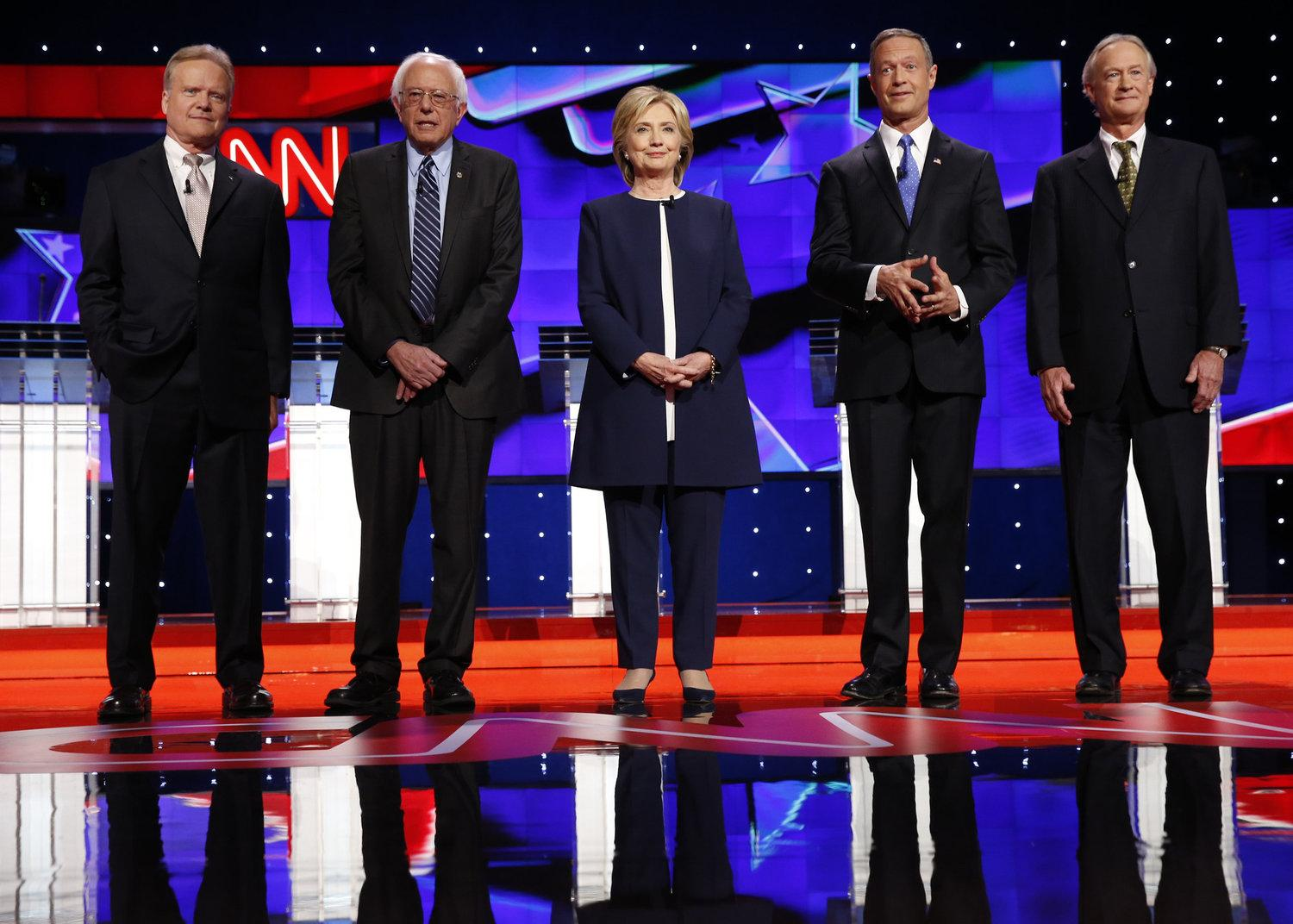 From left, Democratic presidential candidates Jim Webb, Bernie Sanders, Hillary Rodham Clinton, Martin O'Malley and Lincoln Chafee on the debate stage on Tuesday, Oct. 13, 2015, in Las Vegas. (Josh Haner/NYT/Pool via Zuma Press/TNS)
