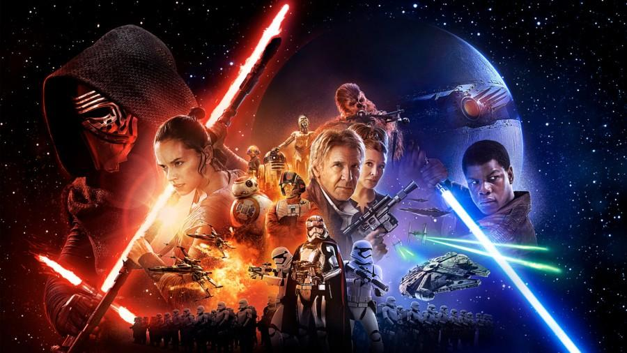 The official theatrical poster for Star Wars Episode VII: The Force Awakens, the seventh installment in the Star Wars series.