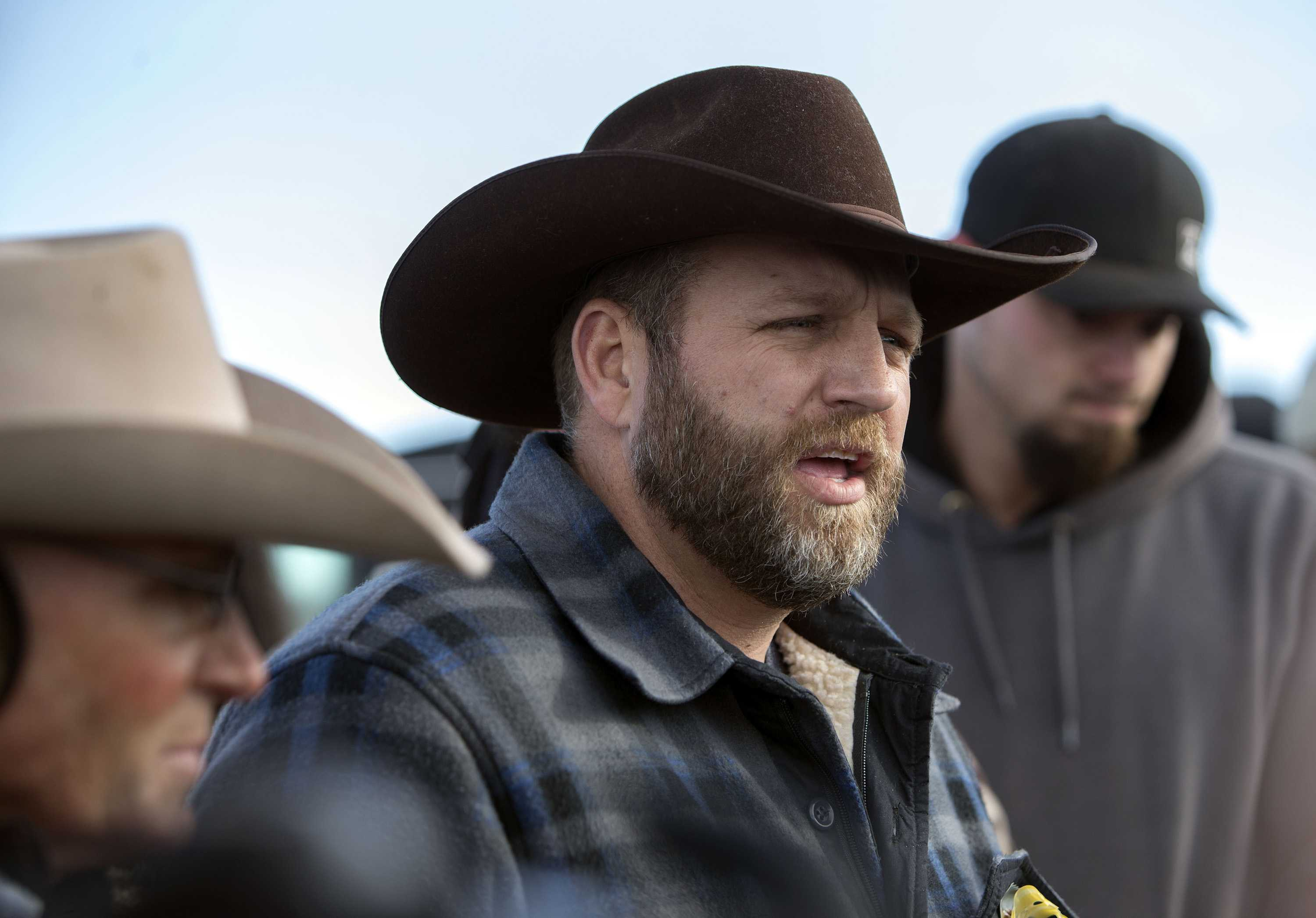 Ammon Bundy speaks during his daily press conference at the top of the road leading to the headquarters of the Malheur National Wildlife Refuge on Jan. 6, 2016 near Burns, Ore. (Andy Nelson/The Register-Guard/Zuma Press/TNS)