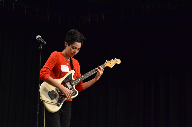 Ava Mendoza performing a song at Fine Arts Friday. Mendoza came down to Austin to play at the No Idea Festival, which took place from February 25-29th.