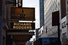Hamilton plays at the Richard Rodgers Theater in New York City, New York. 1,319 people are seated to see the show that plays eight times a week. Photo by Emily Ownby