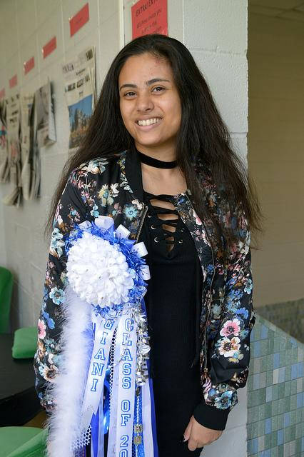 Giani Bright (11) wears her 2016 homecoming mum made by Jurnee Jackson (11).