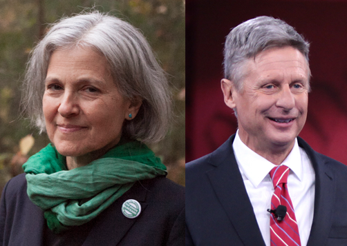 Jill Stein and Gary Johnson are the nominees for the Green party and the Libertarian party, respectively.  Both candidates have similar views when it comes to personal rights, however, differ in their approaches to the environment and economy.