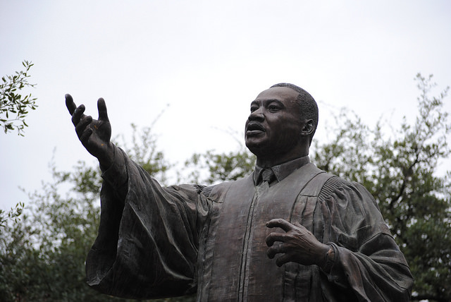 The+event+begins+on+UT+campus%2C+where+speakers+and+musicians+gather+near+this+statue+of+Martin+Luther+King+Jr.+in+the+East+Mall%2C+completed+in+1999.+The+statue+is+the+second+MLK+statue+to+be+built+on+a+college+campus.