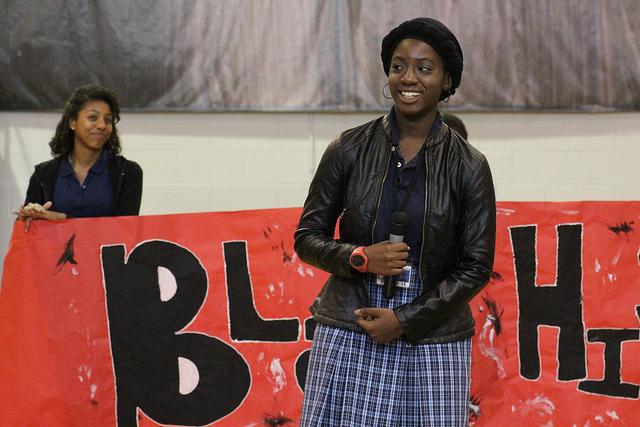 Sophomore+Bunmi+Oni+recites+a+spoken+word+poem+about+Black+History+Month+at+morning+assembly.+%0APhoto+by%3A+Ximena+Sifuentes