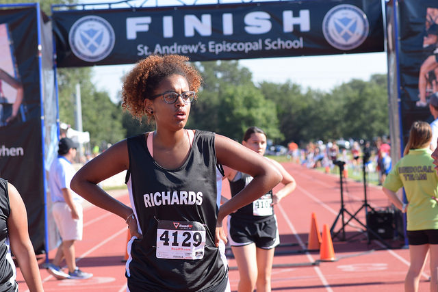 Zia Malanojalila (9) finishes race at St. Andrews on September 9th. This was the second meet of the 2017 cross country season. Photo by Perla Espinoza.