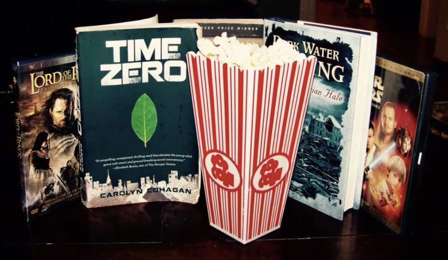 Books, Movies, and Popcorn. Photo by Camille Pfister