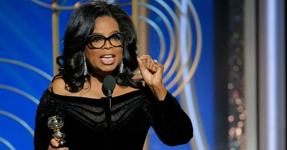 Oprah gives speech after receiving Cecil B. DeMille award.