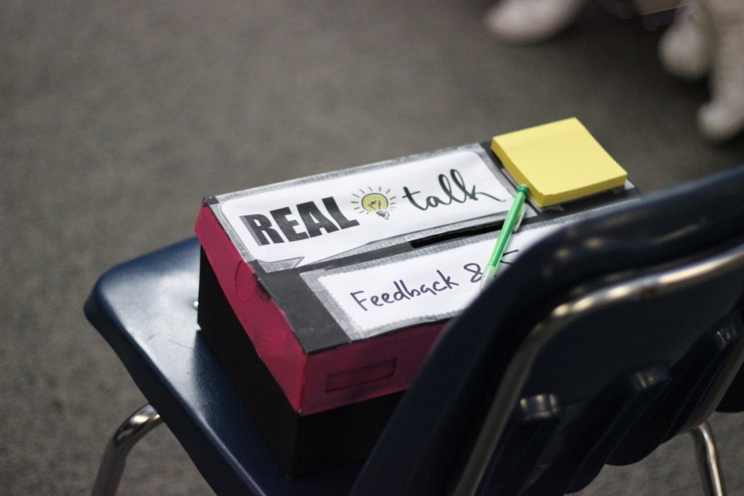 Real Talk suggestion box. Photo by Lauren Breach.