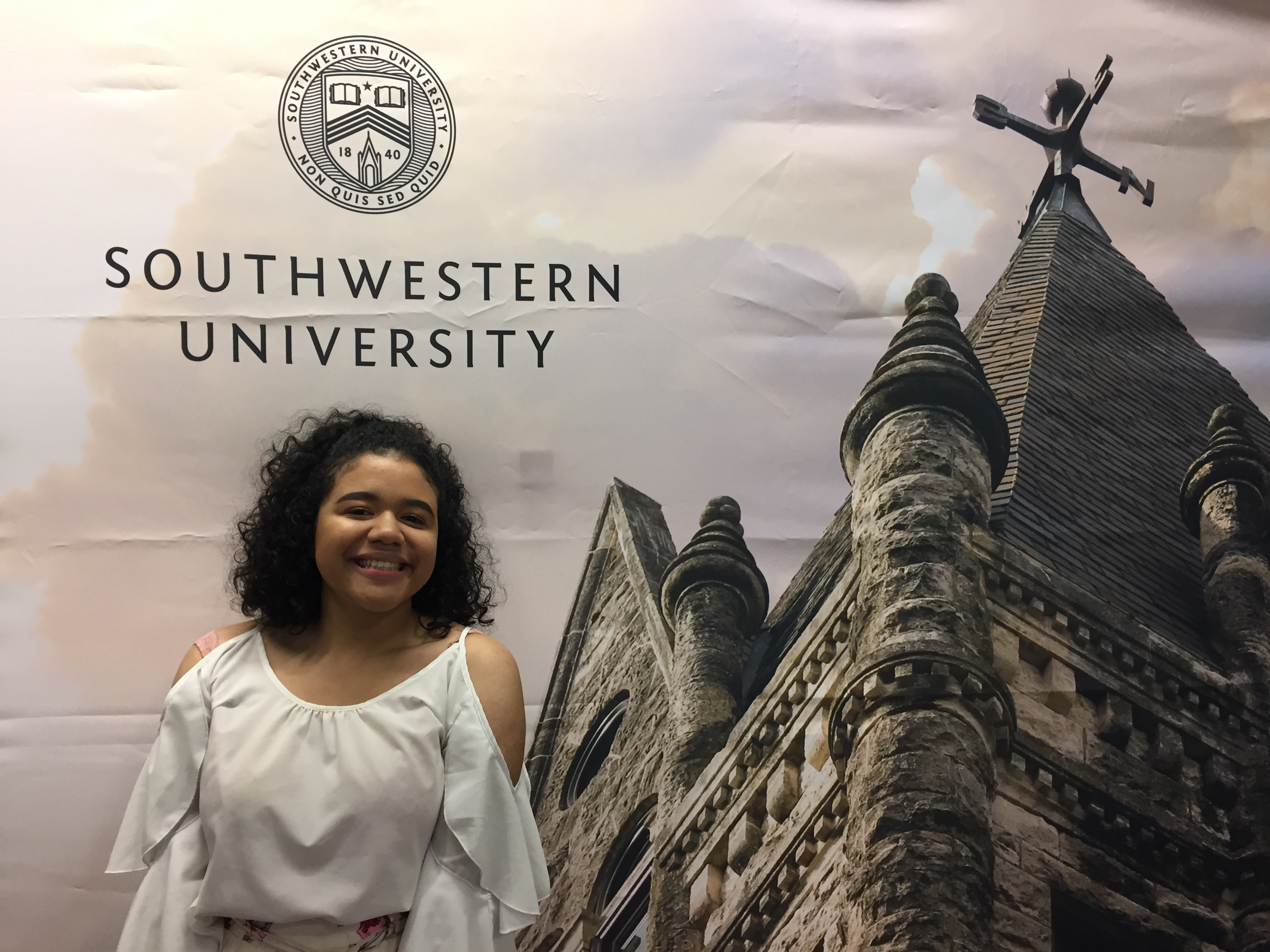 Alyssa Cerda (12) photographed at Southwestern's Admitted Students Day. Photo by Lori Cerda