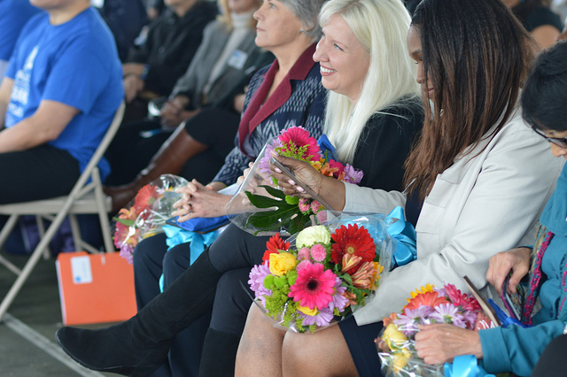 Michelle Morse smiles after receiving her flowers as a gift from ARS students.